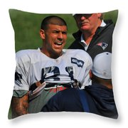 Aaron Hernandez With Patriots Coaches Throw Pillow