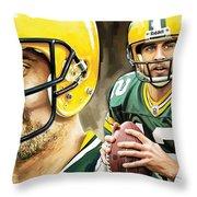 Aaron Rodgers Green Bay Packers Quarterback Artwork Throw Pillow