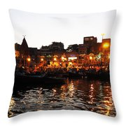 Aarti At Dashashwamedh Ghat 2 Throw Pillow