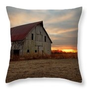 Abanded Barn At Sunset Throw Pillow