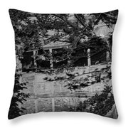 Abandoned And Forgotten Behind Trees Throw Pillow