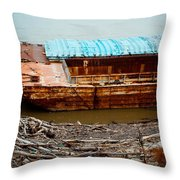 Abandoned Barge Throw Pillow