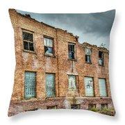 Abandoned Brick Building Throw Pillow