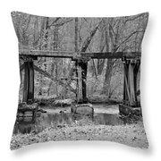 Abandoned Bridge Throw Pillow