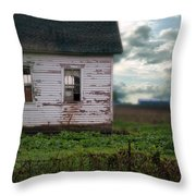 Abandoned Building In A Storm Throw Pillow