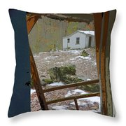 Abandoned Cabin Elkmont Smoky Mountains - Screened Door Old House Throw Pillow