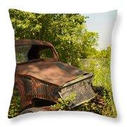 Abandoned Car Throw Pillow