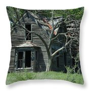Abandoned Country Kansas Farm House Throw Pillow