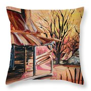 Abandoned Farm Throw Pillow