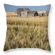 Abandoned Farmhouse In Wheat Field Throw Pillow
