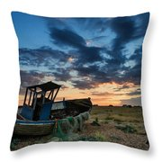 Abandoned Fishing Boatsunset Landscape Digital Painting Throw Pillow by Matthew Gibson