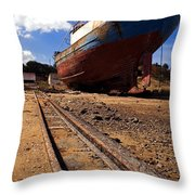 Abandoned Fishing Ship Throw Pillow