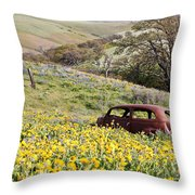 Abandoned Ford Buried In Wildflowers Throw Pillow