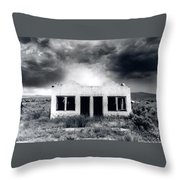 Abandoned Gas Station In Nm Throw Pillow