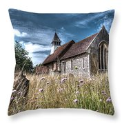 Abandoned Grave In The Churchyard Throw Pillow