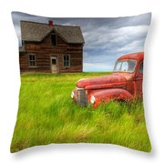 Abandoned Homestead House And Red Throw Pillow