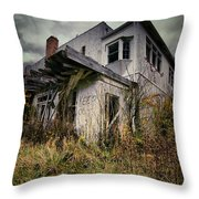 Abandoned Hotel Hdr Throw Pillow