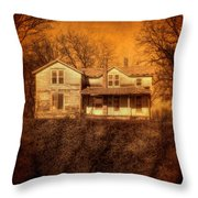 Abandoned House Sunset Throw Pillow by Jill Battaglia