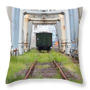 Abandoned Industrial Dock Throw Pillow