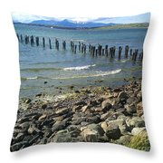 Abandoned Old Pier In Puerto Natales Chile Throw Pillow