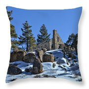 Abandoned On The Mountain Throw Pillow
