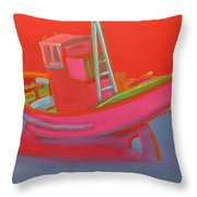 Abandoned Red Fishing Trawler Throw Pillow