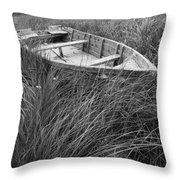 Abandoned Row Boat Along The Shoreline On Prince Edward Island Throw Pillow