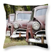 Abandoned Rusted Cars Throw Pillow