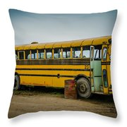 Abandoned School Bus Throw Pillow