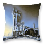 Abandoned Slaughterhouse In Winter Throw Pillow