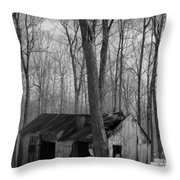 Abandoned Sugar Shack In Black And White Throw Pillow