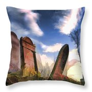 Abandoned Tombstones On The Prairie Throw Pillow