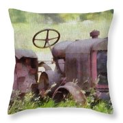 Abandoned Tractor On The Farm Throw Pillow