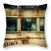 Abandoned Train Car Throw Pillow