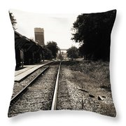Abandoned Train Station Throw Pillow