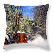 Abandoned Winter Tractor Throw Pillow