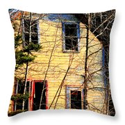Abandoned Yellow House Throw Pillow