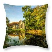 Abbey Lake Autumn Throw Pillow