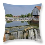 Abbey Mill And Weir Throw Pillow