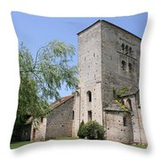 Abbey Ruin - Burgundy Throw Pillow