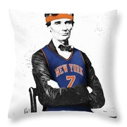 Abe Lincoln In A Carmelo Anthony New York Knicks Jersey Throw Pillow