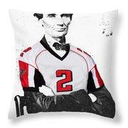 Abe Lincoln In A Matt Ryan Atlanta Falcons Jersey Throw Pillow