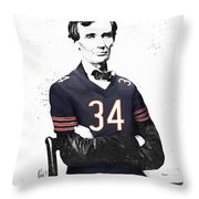 Abe Lincoln In A Walter Payton Chicago Bears Jersey Throw Pillow