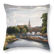 Abingdon Bridge And Church, Engraved Throw Pillow