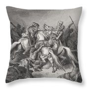 Abishai Saves The Life Of David Throw Pillow by Gustave Dore