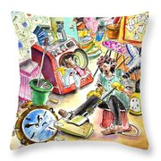 About Women And Girls 05 Throw Pillow by Miki De Goodaboom