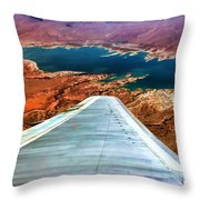 Above Lake Mead By Diana Sainz Throw Pillow