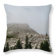 Above Scapegoat Camp Fog Throw Pillow
