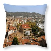 Above The Roofs Of Cannes Throw Pillow by Christine Till