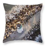 Above Walton Lighthouse Throw Pillow